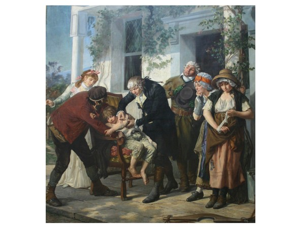 Jenner variolisant un petit garçon. ©Coll. Académie de Médecine