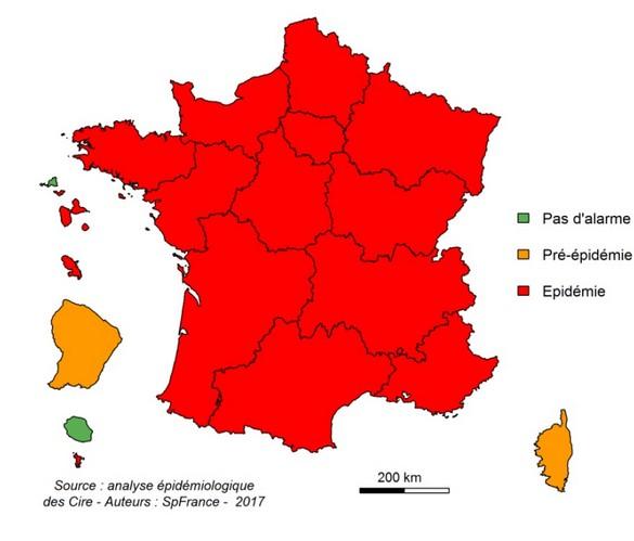 CARTES - L'épidémie de grippe s'étend à toute la France métropolitaine